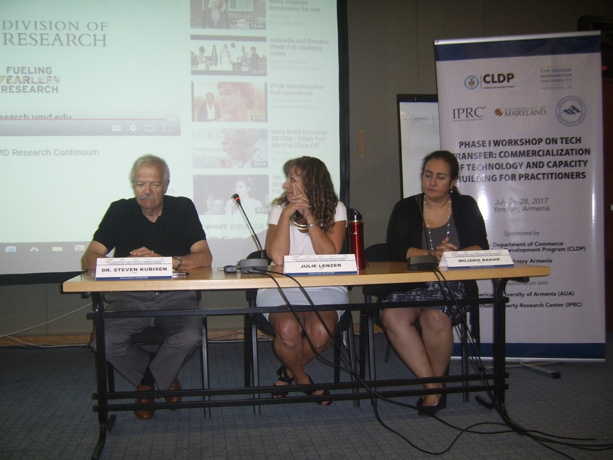 Panelists presenting at Technology Transfer Workshop in Armenia